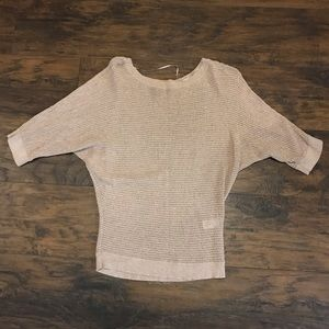 Express tan knit top with gold sparkle detail